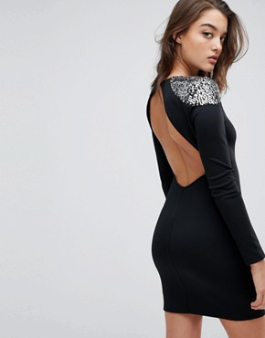 photo Embellished Shoulder Bodycon Open Back Mini Dress by ASOS, color Black/Silver - Image 2