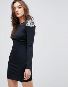 photo Embellished Shoulder Bodycon Open Back Mini Dress by ASOS, color Black/Silver - Image 1