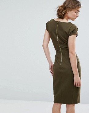 photo Pencil Dress with Ruched Cap Sleeve by Closet London, color Khaki - Image 2