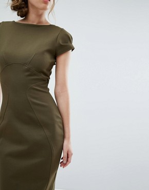 photo Pencil Dress with Ruched Cap Sleeve by Closet London, color Khaki - Image 3