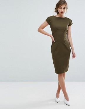 photo Pencil Dress with Ruched Cap Sleeve by Closet London, color Khaki - Image 4