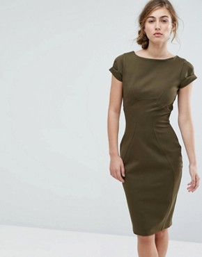 photo Pencil Dress with Ruched Cap Sleeve by Closet London, color Khaki - Image 1