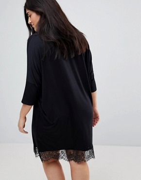 photo Oversize T-Shirt Dress with Batwing Sleeve and Lace Inserts by ASOS CURVE, color Black - Image 2
