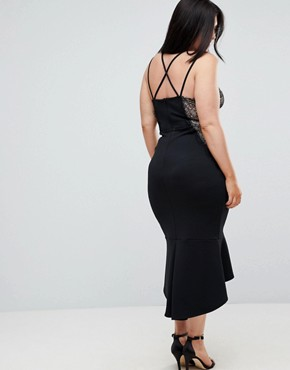 photo Lace Cupped Pephem Strappy Bodycon Dress by ASOS CURVE, color Black - Image 2