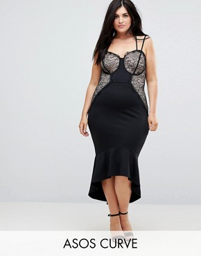 photo Lace Cupped Pephem Strappy Bodycon Dress by ASOS CURVE, color Black - Image 1