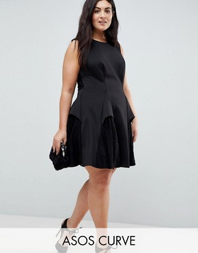 photo Scuba Lace Godet Mini Dress by ASOS CURVE, color Black - Image 1