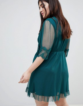 photo Dobby Knot Front Lace Trim Mini Skater Dress by ASOS CURVE, color Forest Green - Image 2