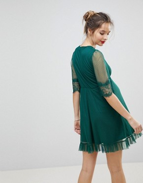 photo Dobby Knot Front Lace Trim Mini Skater Dress by ASOS Maternity, color Forest Green - Image 2