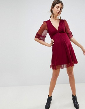 photo Dobby Knot Front Lace Trim Mini Skater Dress by ASOS Maternity, color Purple - Image 4
