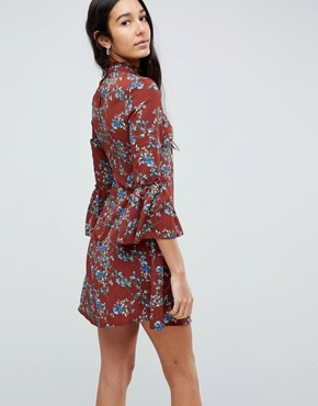 photo High Neck Floral Dress with Flare Sleeve by Parisian Tall, color Rust - Image 2