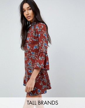 photo High Neck Floral Dress with Flare Sleeve by Parisian Tall, color Rust - Image 1