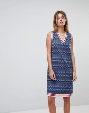 photo Glitter Stripe Dress with Tipping Detail by Diesel, color Blue - Image 1