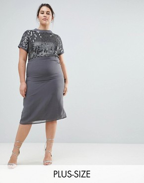 photo Embellished Pencil Dress by Lovedrobe Luxe Plus, color Blue Grey - Image 1