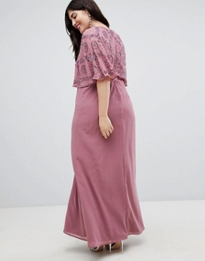 photo Flutter Sleeve Embellished Maxi Dress by Lovedrobe Luxe Plus, color Nostalgia Rose - Image 2