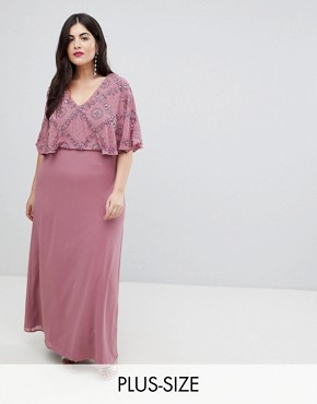 photo Flutter Sleeve Embellished Maxi Dress by Lovedrobe Luxe Plus, color Nostalgia Rose - Image 1
