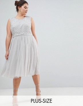 photo Embellished Dress with Tulle Skirt by Lovedrobe Luxe Plus, color Grey - Image 1