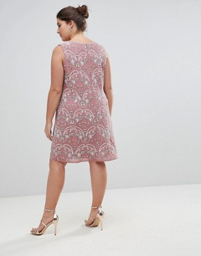 photo Embellished V-Neck Shift Dress by Lovedrobe Luxe Plus, color Pink - Image 2