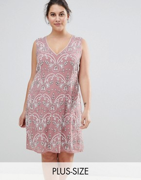 photo Embellished V-Neck Shift Dress by Lovedrobe Luxe Plus, color Pink - Image 1