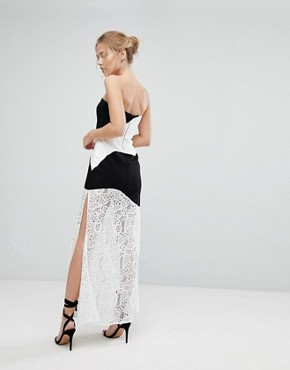 photo Maxi Dress with Monochrome and Lace Detail by Aijek, color White/Black - Image 2