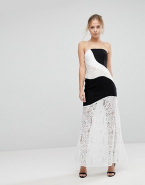photo Maxi Dress with Monochrome and Lace Detail by Aijek, color White/Black - Image 1