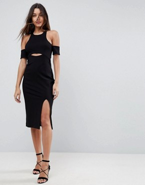 photo Leon Cut Away Bodycon Dress by Finders Keepers, color Black - Image 1