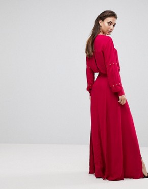 photo Maddox Slit Maxi Dress by Finders Keepers, color Crimson - Image 2