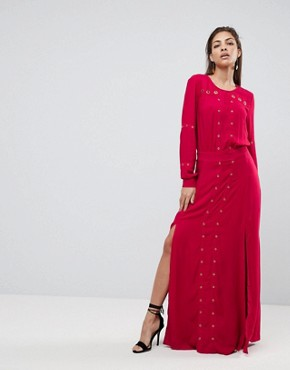 photo Maddox Slit Maxi Dress by Finders Keepers, color Crimson - Image 1