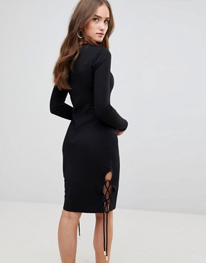 photo Weston Long Sleeved Bodycon Dress by Finders Keepers, color Black - Image 2