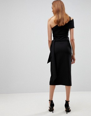 photo One Shoulder Drape Front Midi Pencil Dress by AQ/AQ Tall, color Black - Image 2