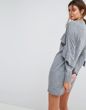 photo Frill Knitted Dress by Stradivarius, color Grey - Image 2