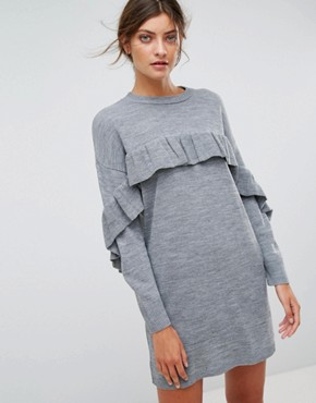 photo Frill Knitted Dress by Stradivarius, color Grey - Image 1