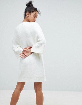 photo Chunky Cable Knitted Dress with Wide Crop Sleeves by ASOS, color Cream - Image 2
