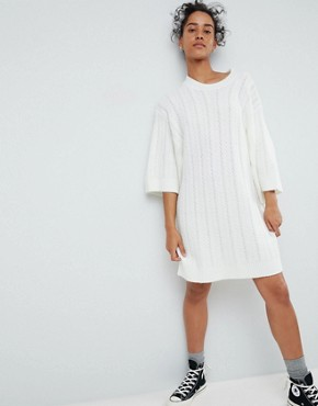 photo Chunky Cable Knitted Dress with Wide Crop Sleeves by ASOS, color Cream - Image 1