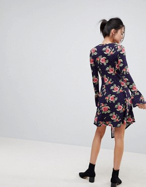 photo Mini Dress with Hanky Hem and Frill Cuff in Spot Floral Print by ASOS, color Multi - Image 2