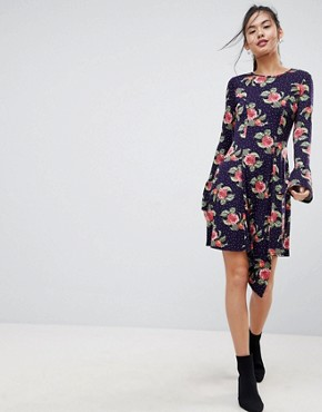 photo Mini Dress with Hanky Hem and Frill Cuff in Spot Floral Print by ASOS, color Multi - Image 1