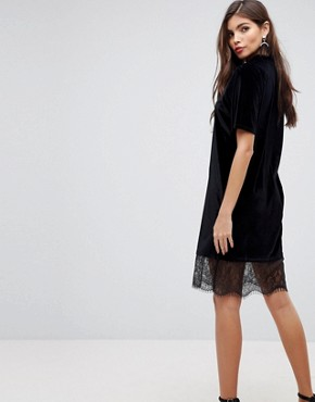 photo Velvet T-Shirt Dress with Choker Neck and Lace Hem by ASOS, color Black - Image 2