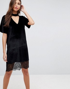 photo Velvet T-Shirt Dress with Choker Neck and Lace Hem by ASOS, color Black - Image 1