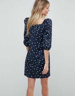 photo Square Neck Polka Dot Mini Dress by ASOS, color Polka Dot - Image 2