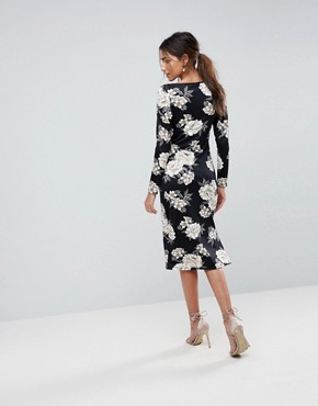 photo Midi Pencil Dress with Sweetheart Neck in Floral Print by ASOS, color Floral Print - Image 2
