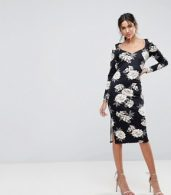 photo Midi Pencil Dress with Sweetheart Neck in Floral Print by ASOS, color Floral Print - Image 4