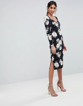 photo Midi Pencil Dress with Sweetheart Neck in Floral Print by ASOS, color Floral Print - Image 1