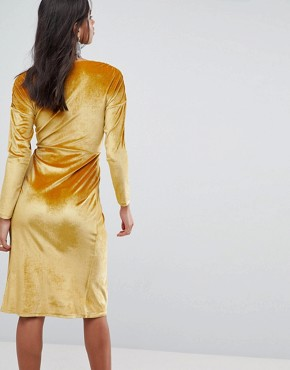 photo Gold Velvet Wrap Midi Dress by ASOS, color Gold - Image 2