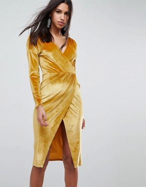 photo Gold Velvet Wrap Midi Dress by ASOS, color Gold - Image 1