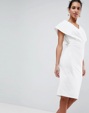 photo Origami Wrap Pencil Dress with Lace Up Back by ASOS, color White - Image 2