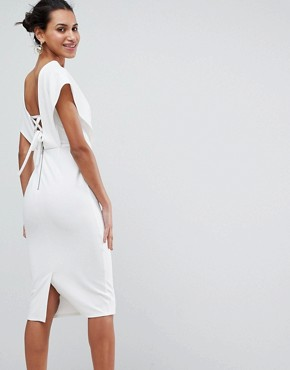 photo Origami Wrap Pencil Dress with Lace Up Back by ASOS, color White - Image 1