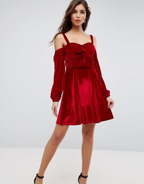 photo Velvet Off Shoulder Skater Dress with Long Sleeves by ASOS, color Red - Image 1