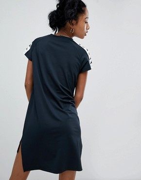 photo T-Shirt Dress with Logo Taping and Stepped Hem by Kappa, color Black - Image 2