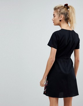 photo Paisley Embroidered Mini Dress by ASOS PREMIUM, color Black - Image 2