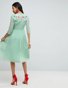 photo Midi Skater Dress with Floral Embroidery by ASOS PREMIUM, color Sage Green - Image 2
