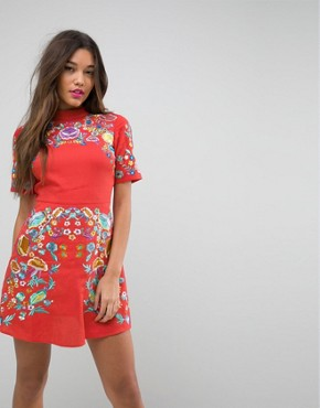 photo Mini Embroidered Dress by ASOS PREMIUM, color Orange - Image 1